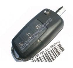 Skoda(Шкода) выкидной ключ с дистанционным управлением 3 кнопки. С мая 2001-2005г. Европа. Номер:: 1JO 959 753 AH,DA