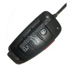 Audi(Ауди) ключ выкидной с дистанционным управлением. Модели::A4,S4,RS4 (3 кнопки+panic) США, после 2005. 8E0 837 220R