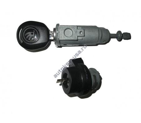 SKODA(Шкода) комплект личинок с замком зажигания и чип ключем (ID 48 CAN SKODA) + лезвие выкидного ключа
