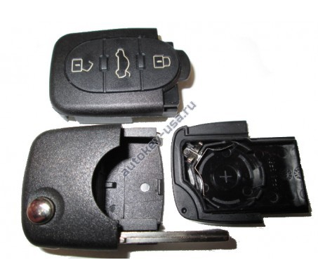 Audi корпус выкидного ключа 3 кнопки с местом под 1 батарейку