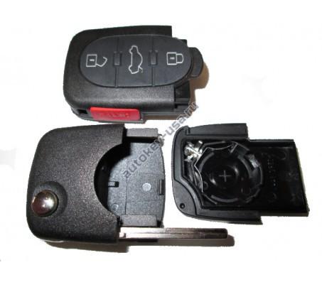 Audi корпус выкидного ключа 3 кнопки+паника с местом под 1 батарейку