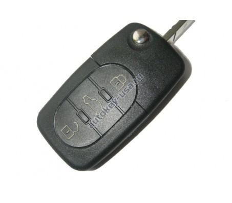 Audi ключ выкидной с дистанционным управлением. (3 кнопки). Европа. 1998-2003г. 4D0 837 231 N